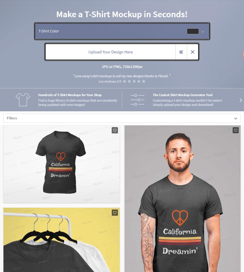 example of using the t-shirt mockup generator