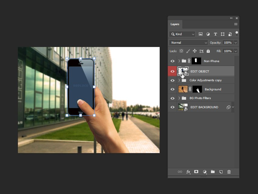 example of using the edit object layer