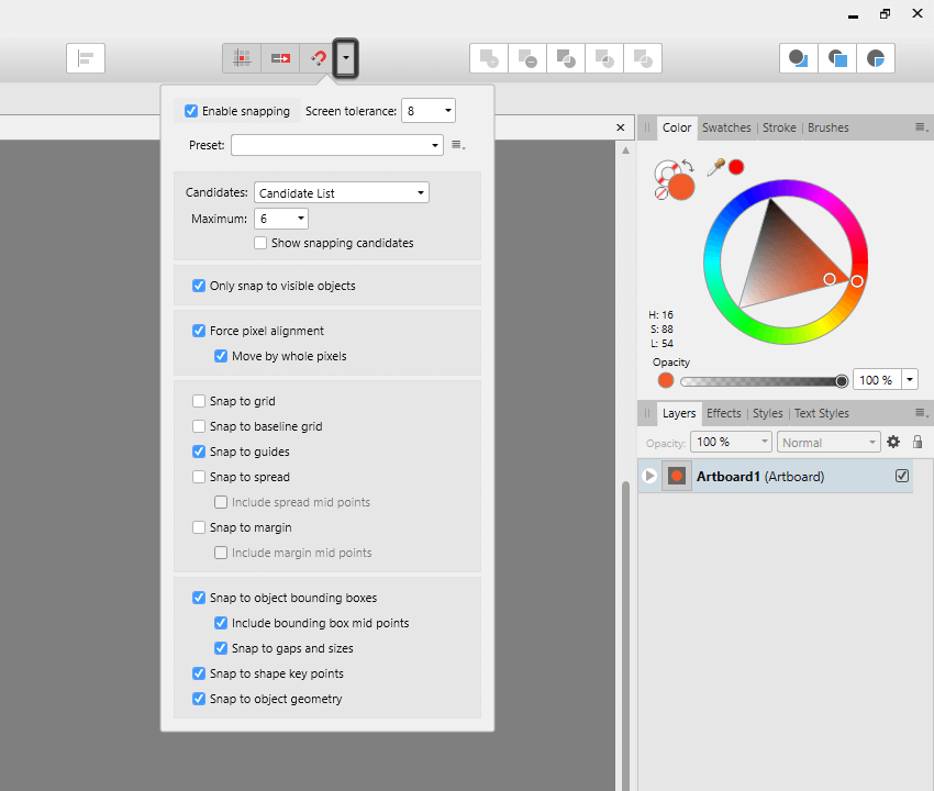 advanced snapping options found in affinity designer