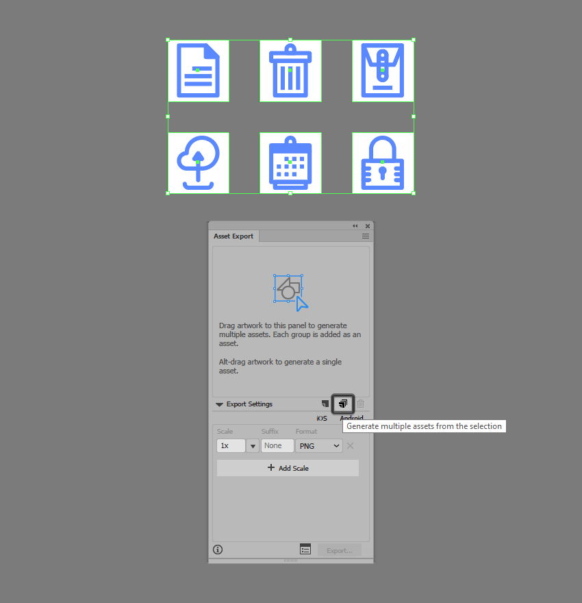 example of adding icons to the asset export panel in illustrator