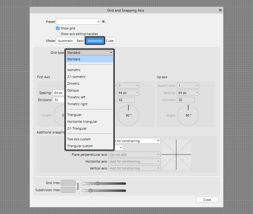 example of advanced grid options found within affinity designer