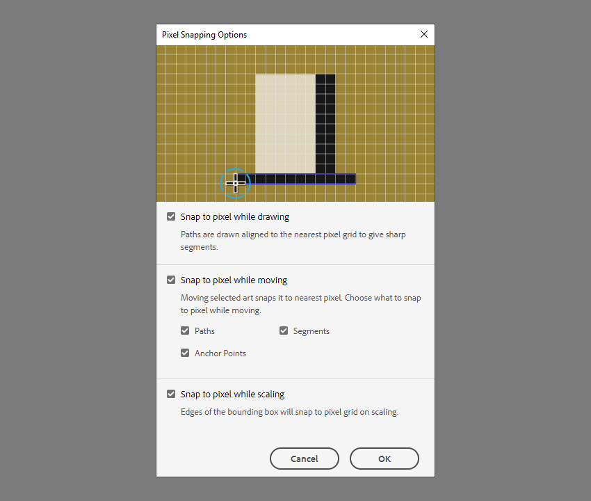 pixel snapping options inside of illlustrator