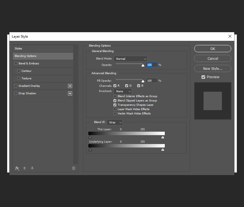 example of using the layer style blending options