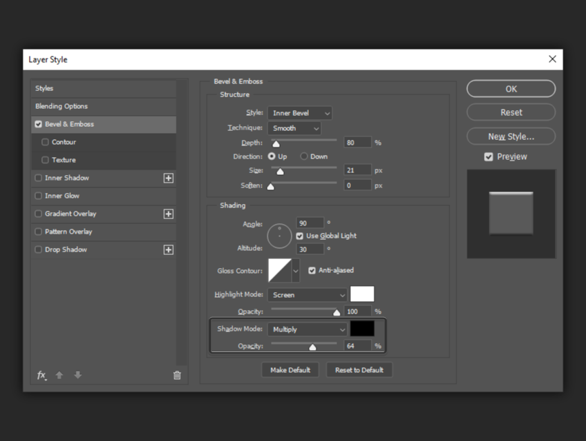 example of shadow mode and opacity settings
