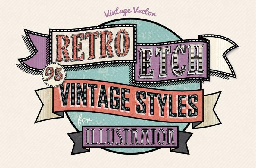 retro etch vintage layer styles