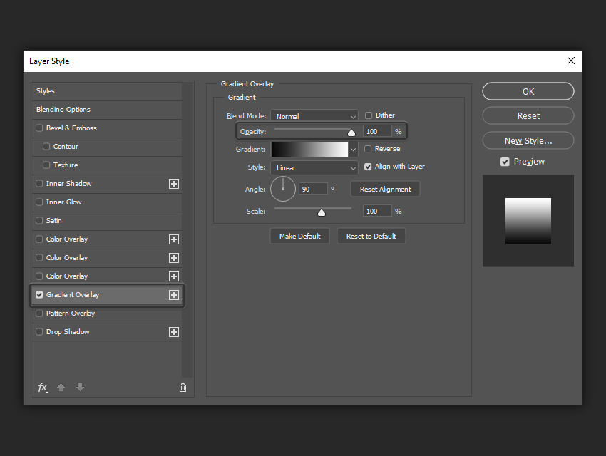 example of the opacity settings