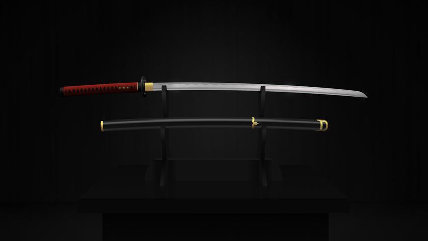Finished katana sword composition