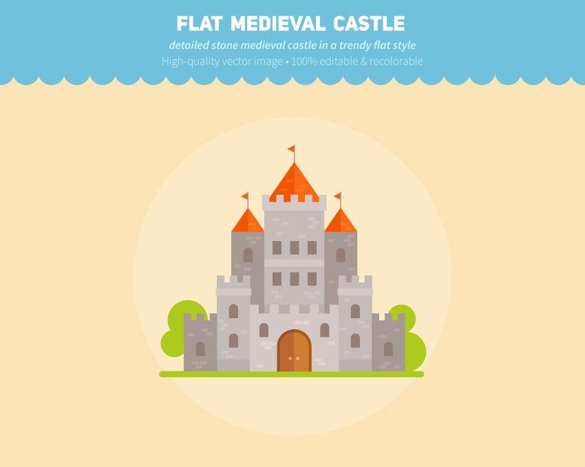 Flat Fantasy Castle