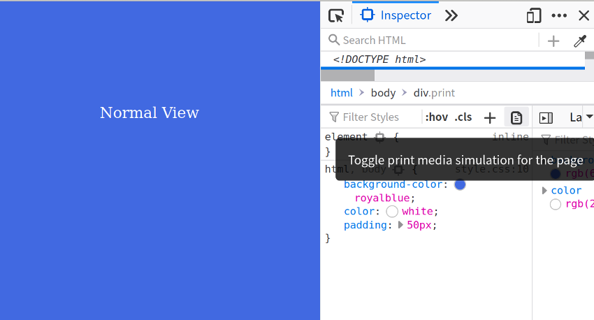 open DevTools and in the Inspector tab