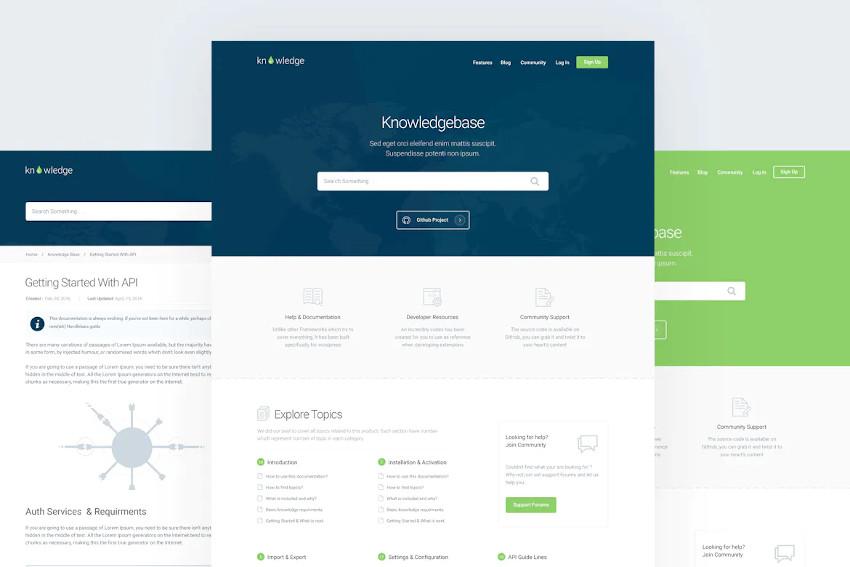 Knowledge - Plantilla gráfica de base de conocimiento y documentación en formato PSD