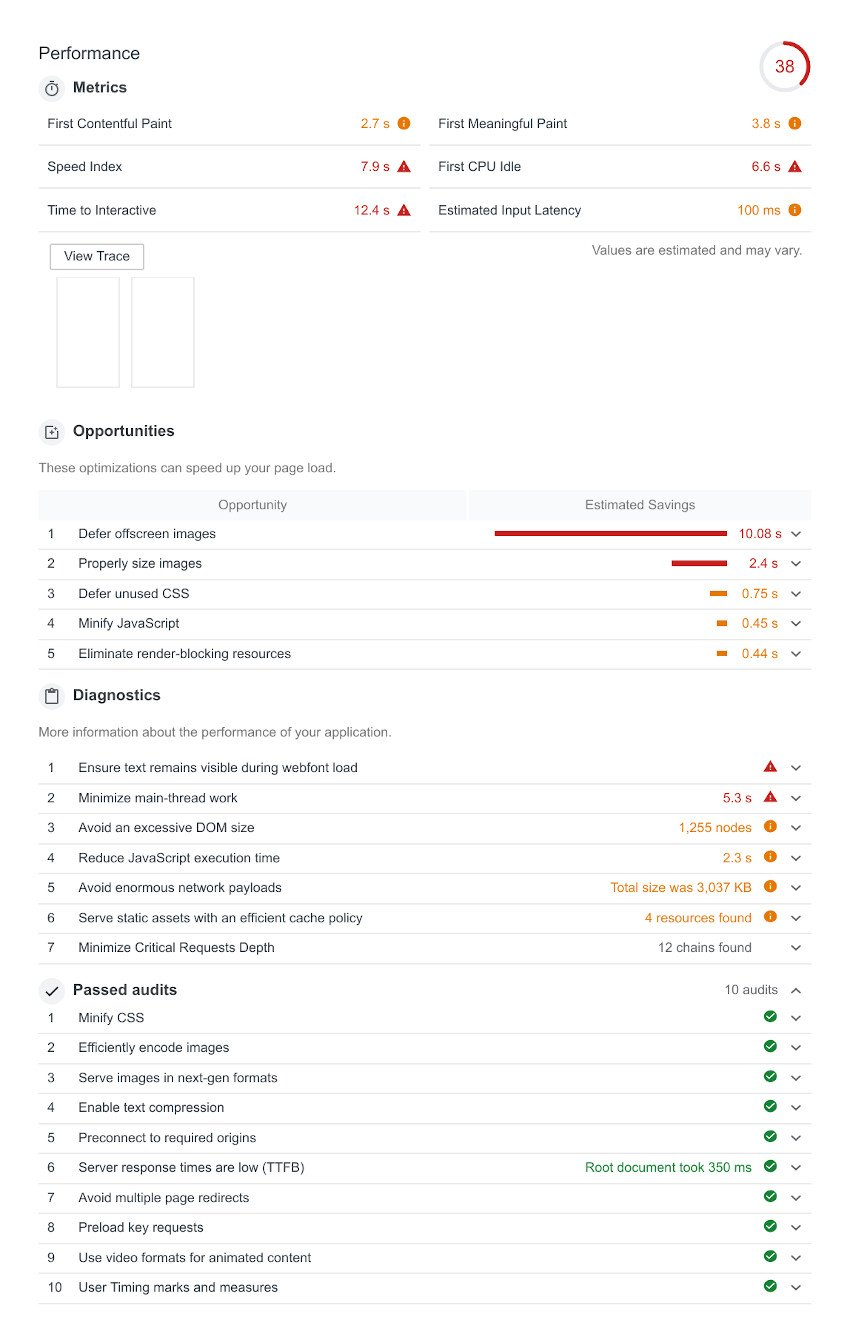audit results from the theme demo page
