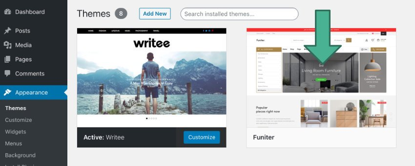 you will see it among your available themes