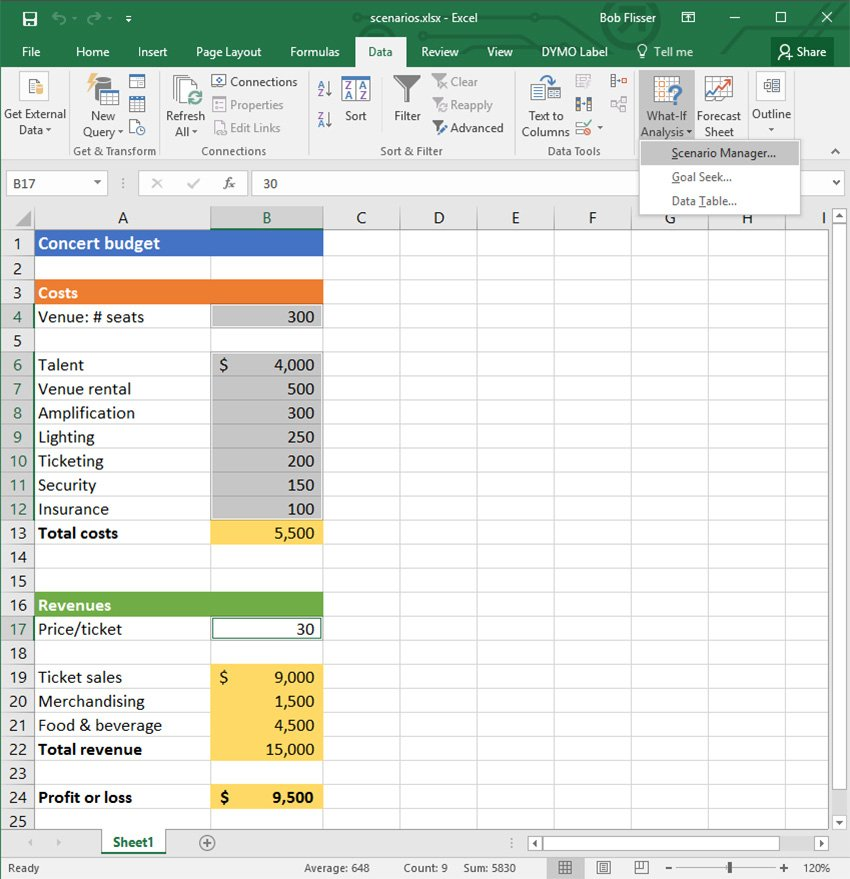 Excel What-If Analysis Scenario Manager