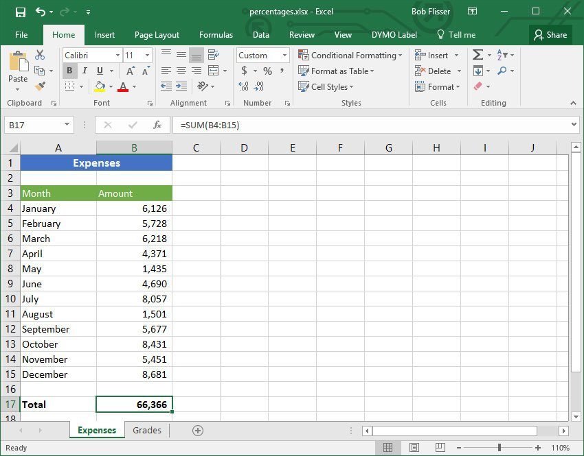 Excel percentages starting screen