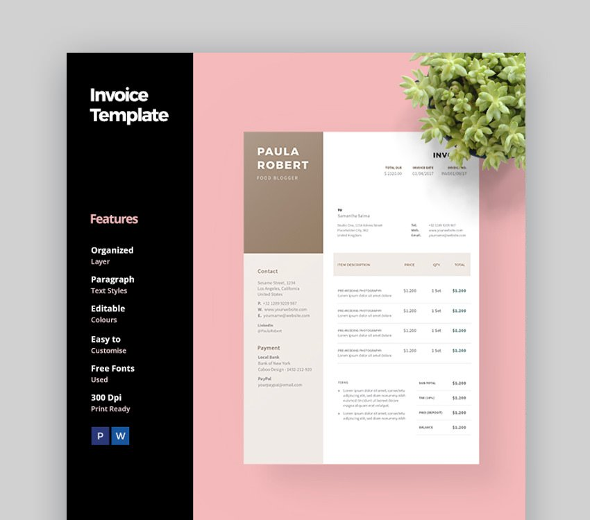 Clean Blogger Invoice Template