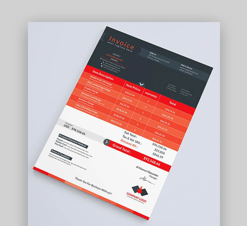 Professional Invoice Template Unlimited Colors
