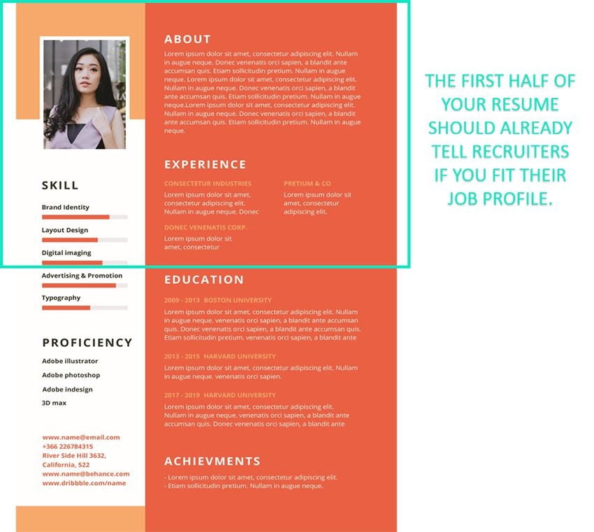 Place your most impressive qualifications on the top part of your resume