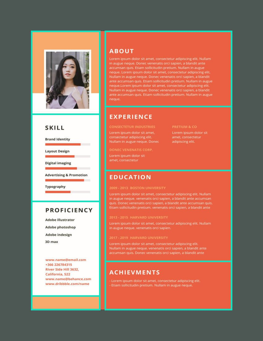 Resume layout structure