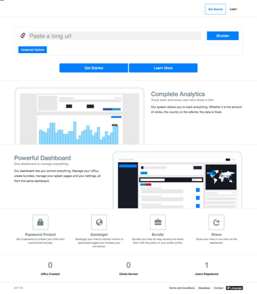 Premium URL Shortener Front Page