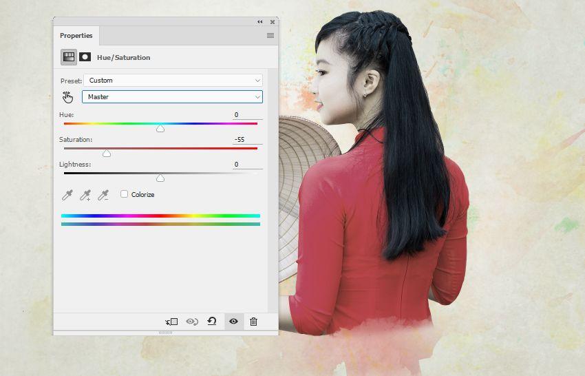 model hue saturation master