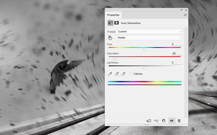 crow 1 hue saturation adjustment layer