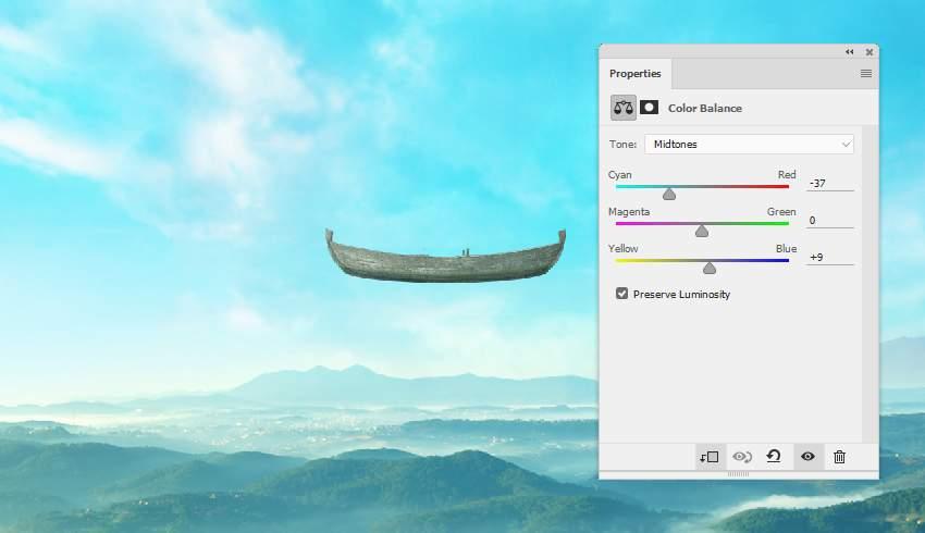 boat photomanipulation -  boat color balance