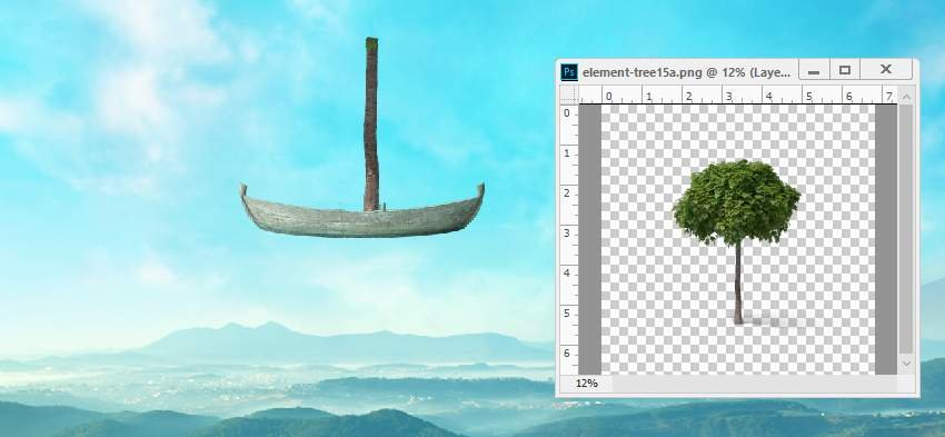 boat photomanipulation -  add trunk