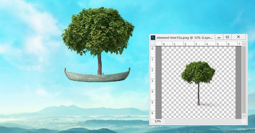 boat photomanipulation - add leaves