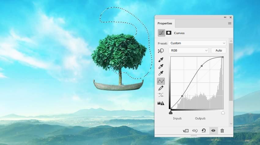 boat photomanipulation - tree curves