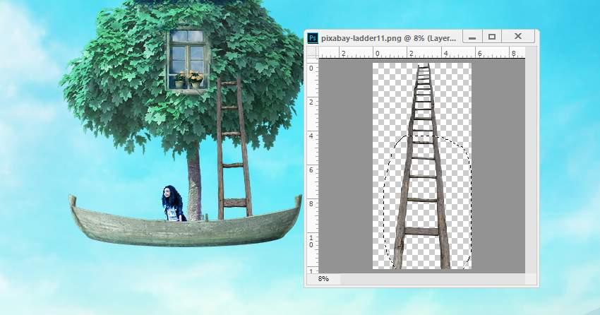 boat photomanipulation - add ladder