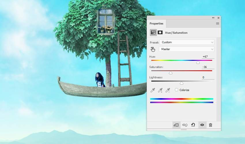 boat photomanipulation- ladder hue saturation