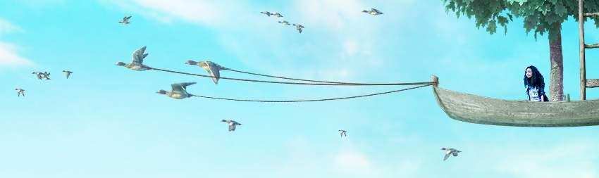 boat photomanipulation - add ropes