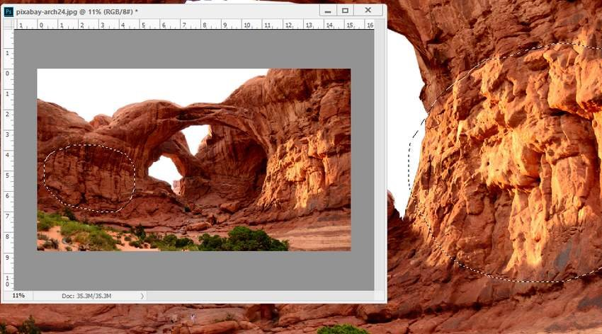 Photoshop Adjustment Layers - right bright area of arch