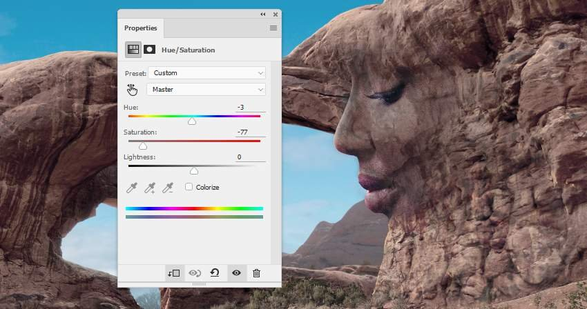 Photoshop Adjustment Layers - face texture hue satiration