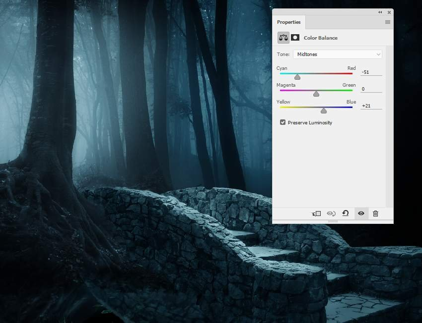 fantasy digital art  - bridge color balance midtones