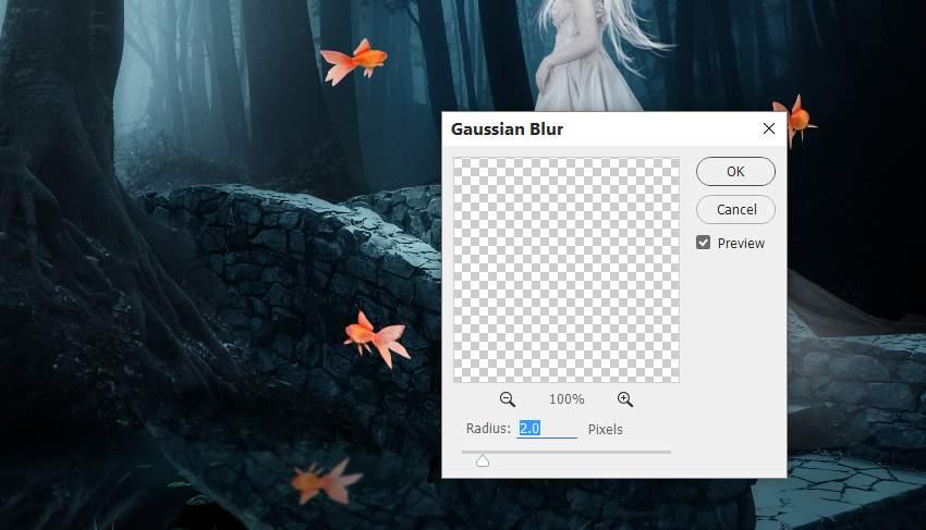 fantasy digital art - fish reflection gaussian blur