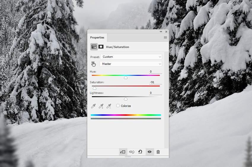 photo manipulation - trees 2 hue saturation