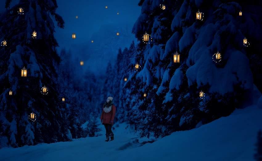 photo manipulation - lanterns cloning