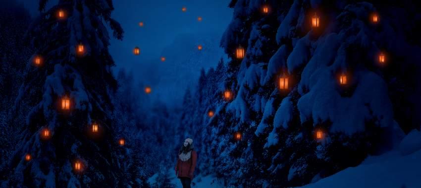 photo manipulation - paint lanterns glow