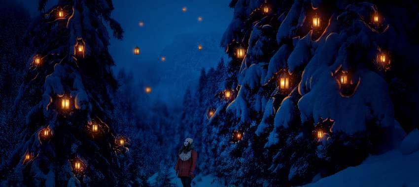photo manipulation - snowy foliages light result