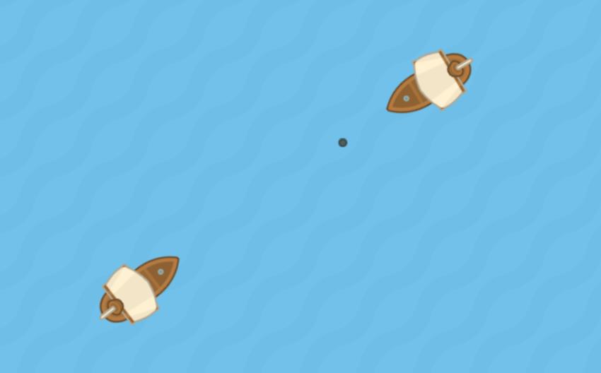 Screenshot of the Final Game - Two Ships Attacking Each Other