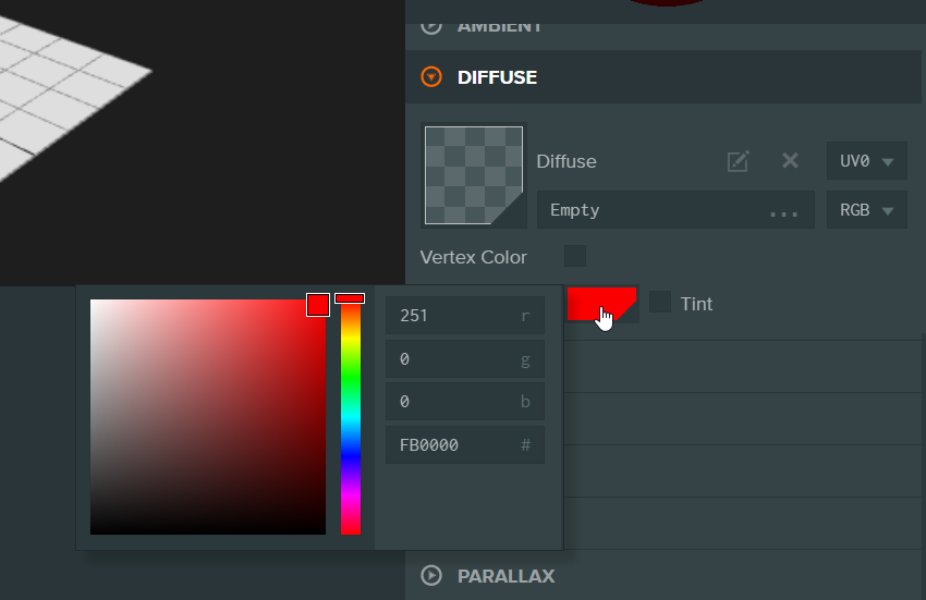 How to change the diffuse color to red