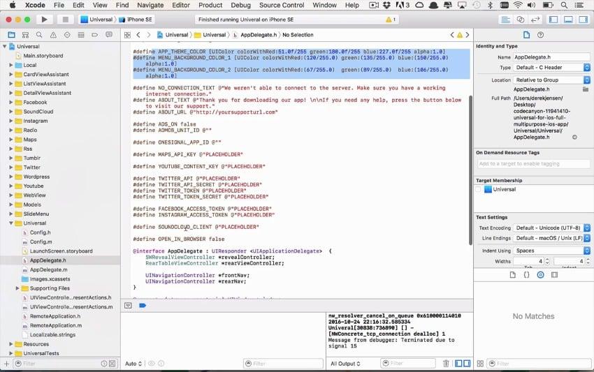 Customizing the appdelegateh file