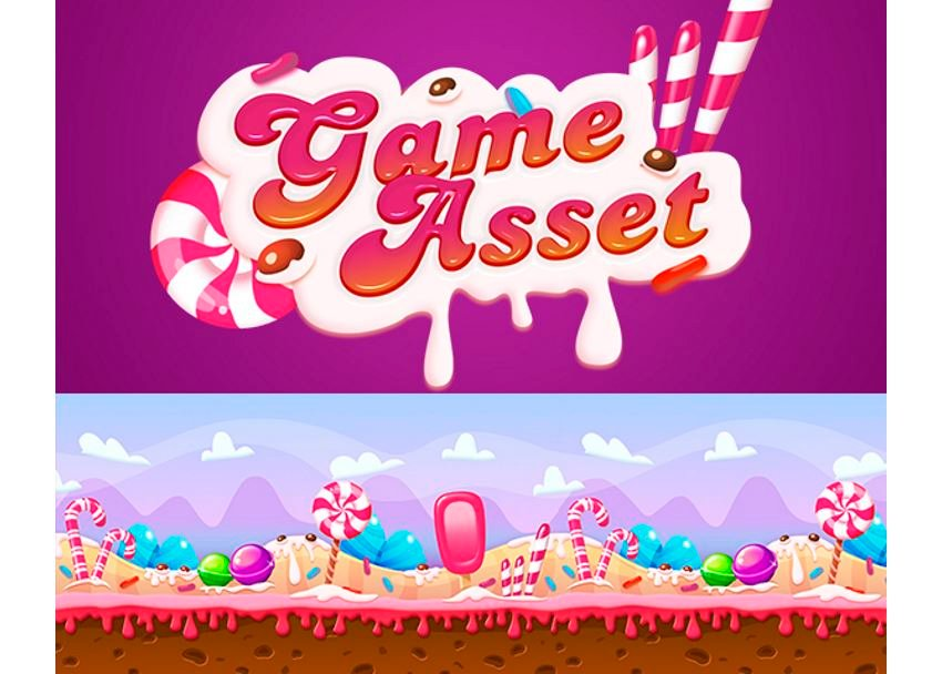 Sweet Game Asset title and level background