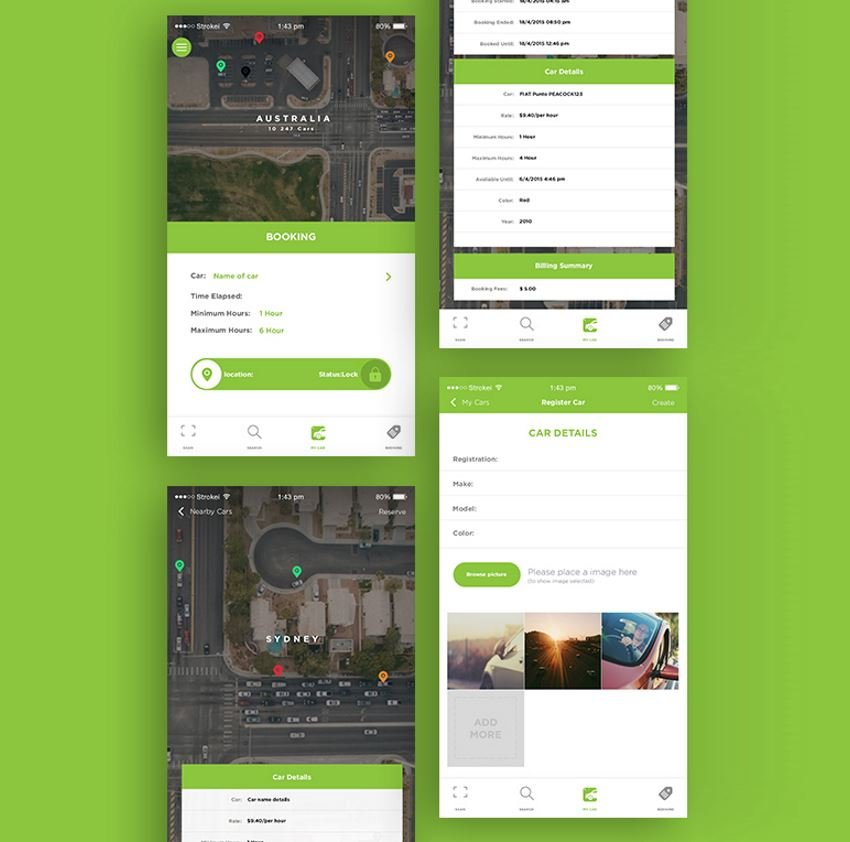 Paycar App sample views