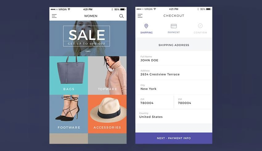 Next eCommerce UI Kit sample sale and checkout screens