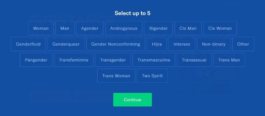 OkCupid gender selection
