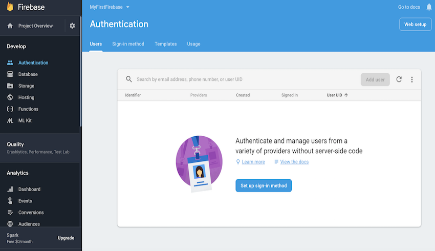 Authentication section in the Firebase Dashboard