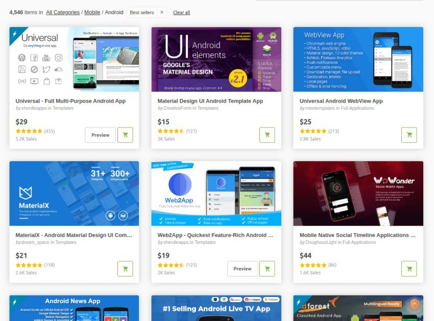 CodeCanyon mobile Android app template bestsellers