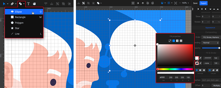 draw a circle with the Ellipse tool